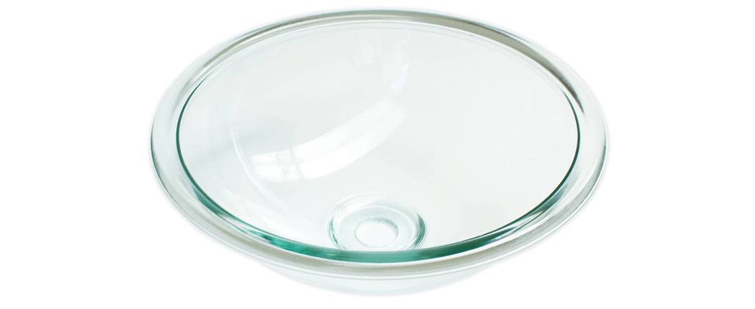 Cuba de Vidro Lisa com Aba 30 cm